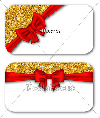 Illustration Paper Cards With Red Bow Ribbon And Golden Dust. Template For Greeting Cards, Invitations, Voucher Design, Coupons, Discounts - Vector Stock Photo