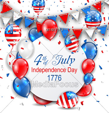 Illustration Party Background With Traditional American Colors With Greeting Card, Colorful Bunting, Balloons And Confetti - Vector Stock Photo