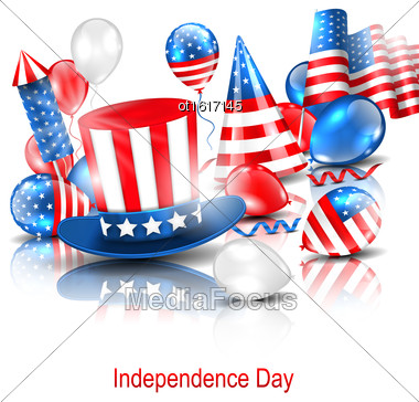 Illustration Party Background In Traditional American Colors With Balloons, Party Hats, Firework Rocket, Flag And Confetti - Vector Stock Photo