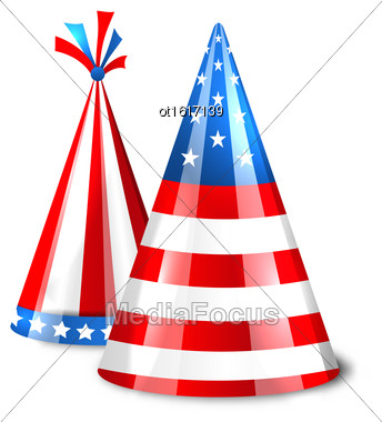 Illustration Party Hats With Flag Of The United States Of America. Accessory For American Holidays. Objects Isolated On White Background - Vector Stock Photo