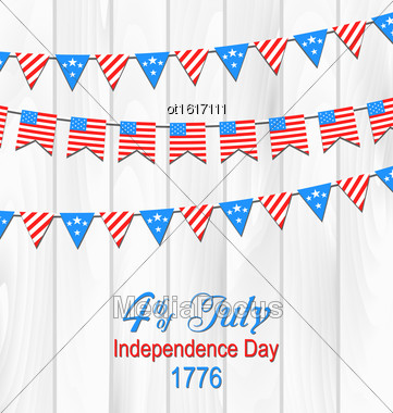 Illustration Party Wooden Background In Traditional American Colors With Hanging Bunting - Vector Stock Photo