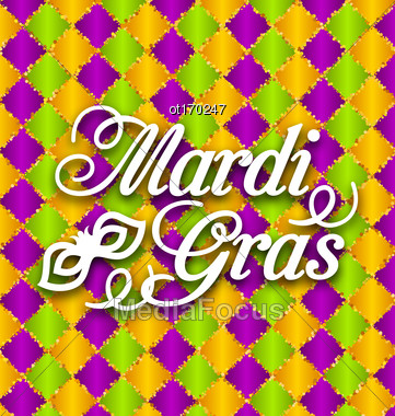 Illustration Pattern Background With Ornamental Text For Mardi Gras - Vector Stock Photo