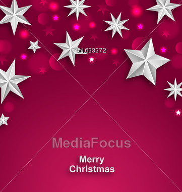 Illustration Pink Abstract Celebration Background With Silver Stars For Merry Christmas - Vector Stock Photo
