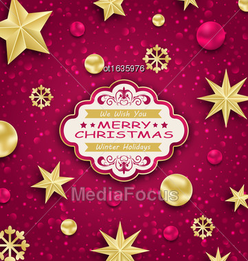 Illustration Pink Cute Congratulation Card With Golden Decoration For Merry Christmas - Vector Stock Photo