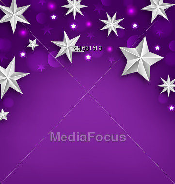 Illustration Purple Abstract Celebration Background With Silver Stars For Your Holiday - Vector Stock Photo