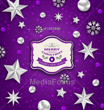 Illustration Purple Abstract Celebration Card With Silver Stars And Decoration For Merry Christmas - Vector Stock Photo