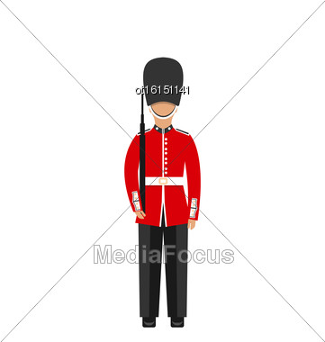 Illustration Queen's Guard. Man In Traditional Uniform With Weapon, British Soldier, Isolated On White Background - Vector Stock Photo