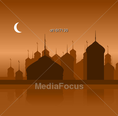 Illustration Ramadan Background With Silhouette Mosque - Vector Stock Photo