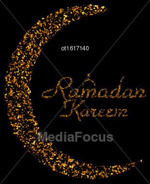 Illustration Ramadan Kareem Background With Moon And Calligraphy Text Made Of Golden Confetti. Ramadan Mubarak Greeting Card, Invitation For Muslim Community Holy Month - Vector Stock Photo