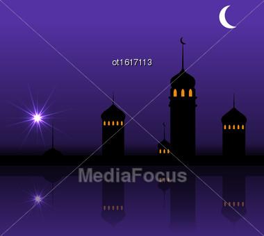 Illustration Ramadan Kareem Night Background With Silhouette Mosque And Minarets - Vector Stock Photo