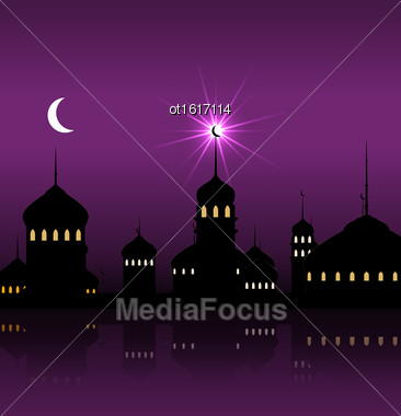 Illustration Ramadan Kareem Night Background With Silhouette Mosque And Minarets - Vector Stock Photo