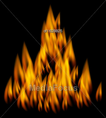 Illustration Realistic Fire Flame On Black Background - Vector Stock Photo