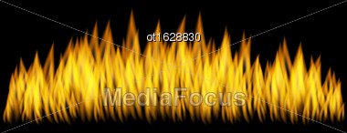 Illustration Realistic Fire Flame Isolated On Black Background - Vector Stock Photo