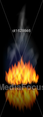 Illustration Realistic Fire Flame With Smoke On Black Background - Vector Stock Photo