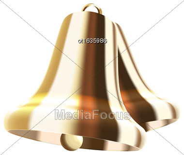 Illustration Realistic Golden Bells Isolated On White Background - Vector Stock Photo