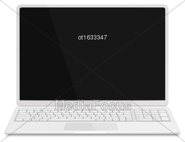 Illustration Realistic Laptop With Keyboard, Isolated On White Background. Screen Of Notebook Can Be Used With Custom Images - Vector Stock Photo