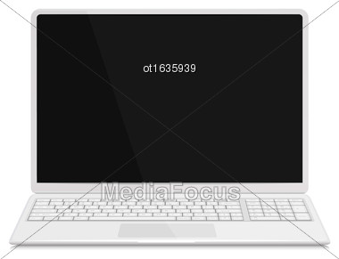 Illustration Realistic Laptop Notebook White Milk Color With Keyboard, Isolated On White Background. Screen Of Notebook Can Be Used With Custom Images - Vector Stock Photo