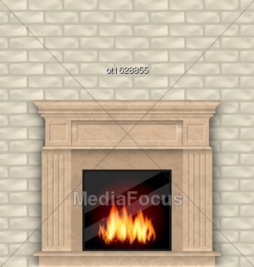 Illustration Realistic Marble Fireplace With Fire In Interior, Brick Wall - Vector Stock Photo