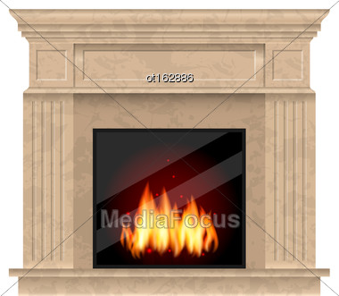 Illustration Realistic Marble Fireplace With Fire Isolated On White Background - Vector Stock Photo