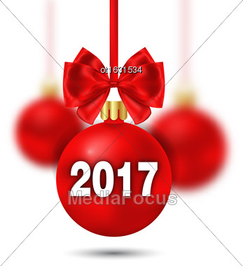 Illustration Red Christmas Ball With Bow And Blur Balls On White Background - Vector Stock Photo