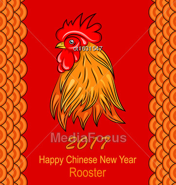 Illustration Red Rooster, Symbol Of 2017 On The Chinese Calendar. Poster For New Year Design. Chinese Ornament - Vector Stock Photo