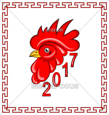 Illustration Red Rooster, Symbol Of 2017 On The Chinese Calendar. Banner For New Year Design - Vector Stock Photo