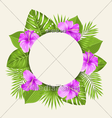 Illustration Retro Card With Purple Hibiscus Flowers And Green Tropical Leaves. Clean Invitation - Vector Stock Photo