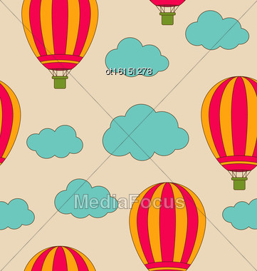 Illustration Retro Seamless Travel Pattern Of Air Balloons And Clouds. Vintage Background - Vector Stock Photo