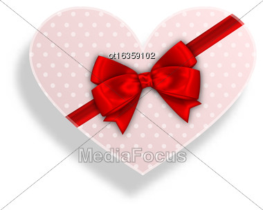 Illustration Romantic Gift Box With Bow Ribbon For Valentines Day - Vector Stock Photo