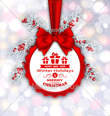 Illustration Round Banner With Red Ribbon And Bow For Happy New Year 2017 And Merry Christmas. Congratulation Card Template - Vector Stock Photo