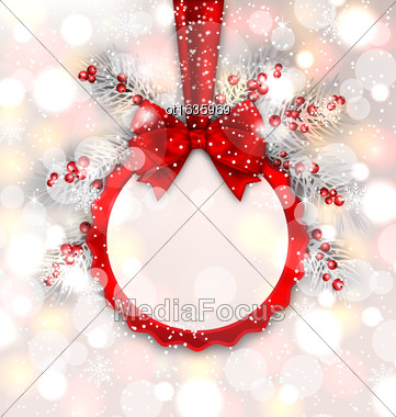 Illustration Round Banner With Red Ribbon And Bow With Silver Pine, Glowing Shimmering Background - Vector Stock Photo