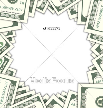Illustration Round Frame With Dollars With Shadows On White Background. Space For Your Message - Vector Stock Photo