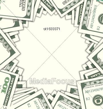 Illustration Round Frame With Dollars On White Background. Space For Your Text. Design Elements - Vector Stock Photo