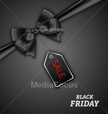 Illustration Sale Discount With Bow Ribbon For Black Friday - Vector Stock Photo