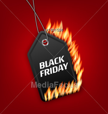 Illustration Sale Discount With Fire Flame For Black Friday. Hot Sales, Template For Discount, Label, Coupon - Vector Stock Photo