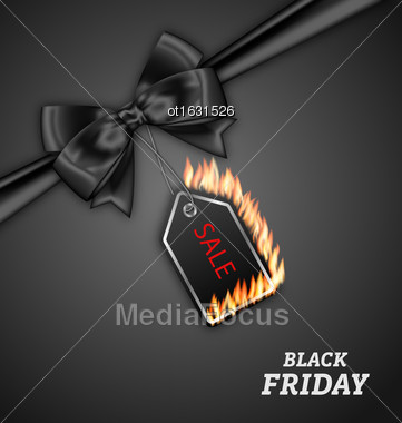 Illustration Sale Discount With Fire Flame, Black Bow Ribbon For Black Friday - Vector Stock Photo