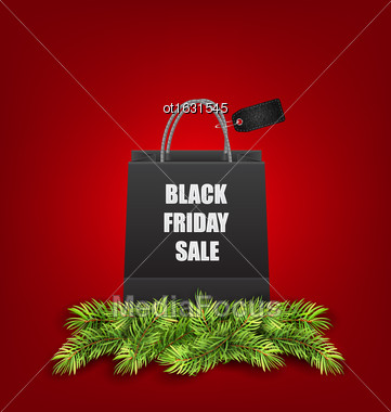 Illustration Sale Shopping Bag With Fir Twigs For Black Friday Sales - Vector Stock Photo