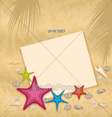 Illustration Sand Background With Paper Card, Starfishes, Pebble Stones, Seashells - Vector Stock Photo