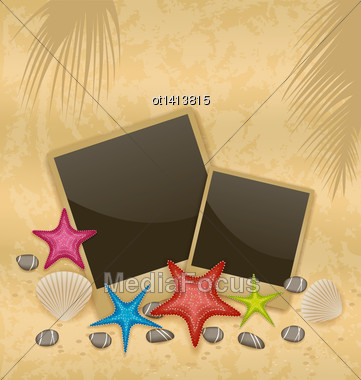 Illustration Sand Background With Photo Frames, Starfishes, Pebble Stones, Seashells - Vector Stock Photo