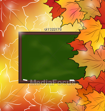 Illustration School Board With Maple Leaves, Autumn Background - Vector Stock Photo