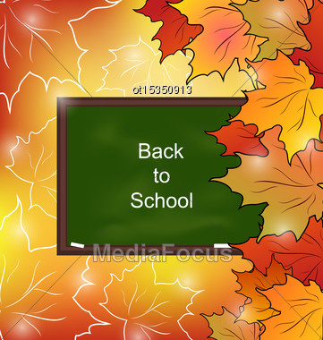 Illustration School Board With Maple Leaves, Autumn Bright Background - Vector Stock Photo