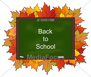 Illustration School Board With Maple Leaves, Back To School - Vector Stock Photo