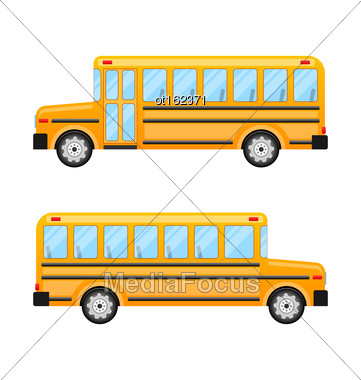 Illustration School Bus Isolated On White Background - Vector Stock Photo