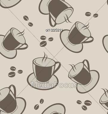 Seamless Background With Coffee Cups And Beans Stock Photo