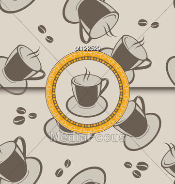 Seamless Background With Coffee Cups For Design Packing Stock Photo