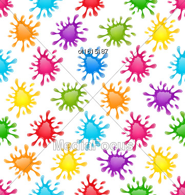 Illustration Seamless Fun Pattern With Multicolored Blots - Vector Stock Photo
