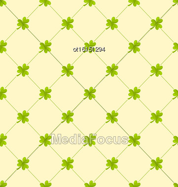 Illustration Seamless Ornamental Pattern With Clovers For St. Patricks Day, Irish Nature Background - Vector Stock Photo