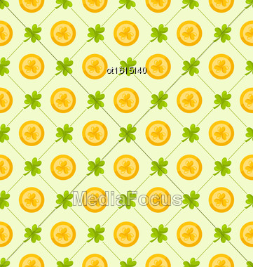 Illustration Seamless Pattern With Clovers And Golden Coins For St. Patricks Day, Cute Background - Vector Stock Photo