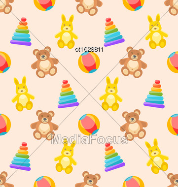 Illustration Seamless Pattern With Colorful Children Toys. Funny Background With Rabbits, Bears, Pyramids, Balls - Vector Stock Photo