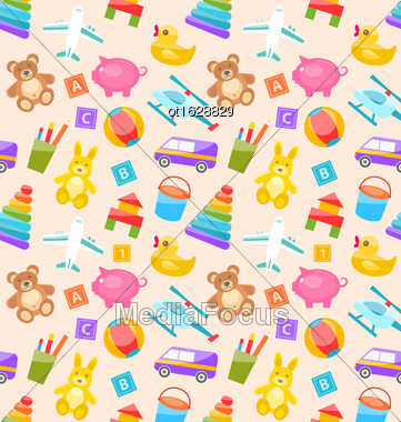 Illustration Seamless Pattern With Colorful Children Toys. Funny Texture With Cartoon Baby Joys - Vector Stock Photo